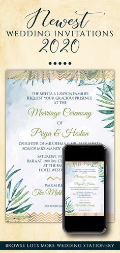 This Simple Tropical Wedding invitation suite is perfect for you if you are looking for Watercolour printable invites template and easy-to-customize editable template downloads for your tropical Wedding Invitation!This DIY Watercolor Wedding template invitation set with Palm Leaves includes a digital invite template each for any 3 of your functions for your Modern Beach Wedding, be it a Sangeet, Wedding or Reception! Invitation Card Design, Invitation Set, Digital Invitations, Printable Invitations, Invites, Diy Wedding Stationery, Indian Wedding Invitations, Wedding Invitation Templates, Watercolor Wedding