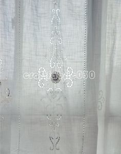 2 de 70''x102'' (140'' total wide) Tab Top French Country Linen Look Crochet by craftfabric030, $66.00