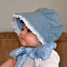 Best 12 Chambray Baby Bonnet looks like denim but lighter weight Baby Boy Knitting Patterns, Baby Hat Patterns, Baby Hats Knitting, Baby Sewing Projects, Sewing For Kids, Cute Little Baby, Little Girls, Baby Girls, Baby Bonnet Pattern