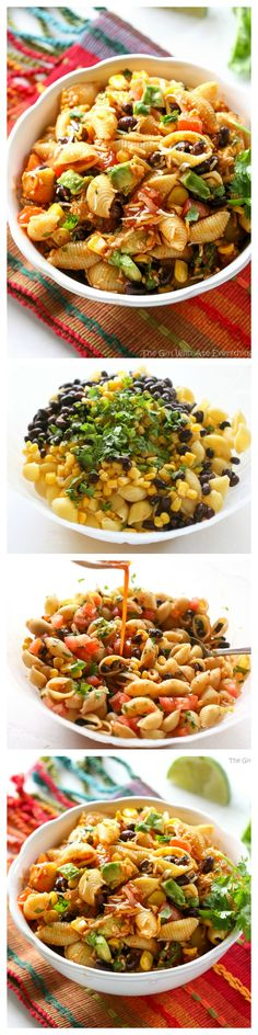 This Taco Pasta Salad is filled with black beans, corn, cilantro, avocados, and tomatoes. the-girl-who-ate-...
