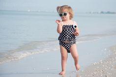 Megan Landmeier Photography: Arlington, VA Family, Child, and Senior Photos.  Toddler/preschool girl on beach, sunglasses, bathing suit, naples fl