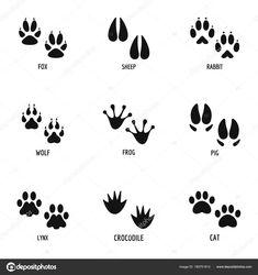 Stáhnout - Tlapa ikony nastavit, jednoduchý styl — Stocková ilustrace Educational Toys, Icon Set, Simple Style, Wild Animals, Illustration, Cards, Animales, Learning Toys, Illustrations