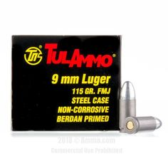 TulAmmo 9mm Ammo - 1000 Rounds of 115 Grain FMJ Ammunition #Tula #TulAmmo #9mmAmmo #9mm #FMJ