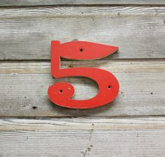 MidCentury House Number - Wooden Number 5 by AuroraMills on Etsy, $24.00