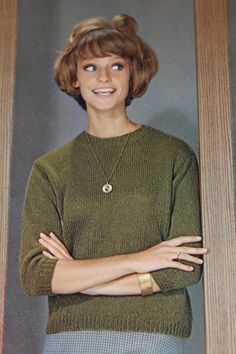 "This sweet little sweater is a perfect blend of vintage styling with surprisingly modern design elements.  Vintage Knitting Pattern - Women's Classic Slipon Sweater - 1960's original ""Perfect Coordinates"" collection - Retro Mad Men Sweater"