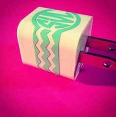 Chevron iPhone Charger Monogram Sticker by SunshineVinyl on Etsy, $2.50