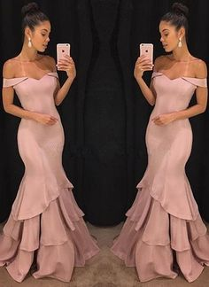 Beautiful Simple Elegant Pink Mermaid Prom Dresses, Off-the-Shoulder Long Evening Gowns Evening Gowns Online, Long Evening Gowns, Mermaid Evening Dresses, Elegant Evening Gowns, Pink Mermaid Dress, Mermaid Gown Prom, Blush Evening Gown, Lace Mermaid, Mermaid Wedding