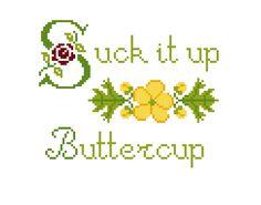 PATTERN Suck It Up Buttercup CrossStitch