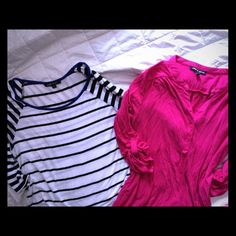 Tops : 2 for 1 Hardly worn, striped b&w with royal blue collar & a pink top. 3/4 sleeve, bundle & save  Tops Blouses