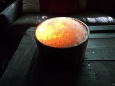 DIY rock salt lamp.. I want to put one of these in my bedroom