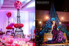 """Nicole's #Quinceanera, A Night in Paris! """"The incorporated Eifel towers were decorated with bright pink flowers and centered on many of the tables as centerpieces"""" #DominoArts #Photography (www.DominoArts.com)"""