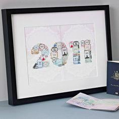 Personalised Passport Stamps Travel Print