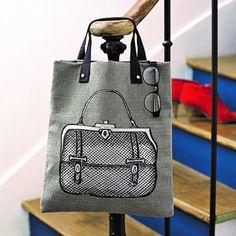 Un cabas en toile décoré d'un motif de sac vintage / Shopping bag, hessian, decorated vintage bag pattern