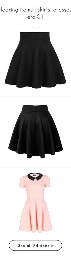 """""""clearing items ; skirts, dresses, etc 01"""" by pxnk-an0ns ❤ liked on Polyvore featuring skirts, bottoms, saias, black, short black skirt, black a line skirt, a-line skirt, high waisted knee length skirt, black knee length skirt and mini skirts"""