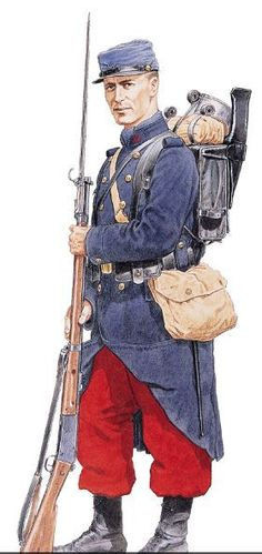 The World War 1 French uniform consisted of a blue cap and coat, and red trousers. The bright colors used in their uniforms were highly visible and were later attributed to the high death toll the French army experienced during the first war.