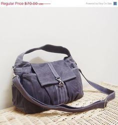 Cross body convertible hobo from Etsy Kinies store in waxed canvas grey