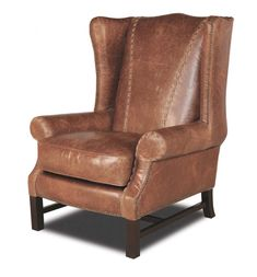Specialty Plateau Wing Chair Western Accent Chairs - Tufted leather recliner with hand applied antiquing. Exquisitely created by skilled artisans in 100% top grain leather. Superior quality and design for those who appreciate the best.