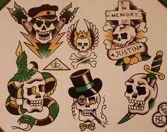 "Traditional/old school tattoo, Jeromey ""tilt"" McCulloch, skulls, death, metal, top hat, dagger"