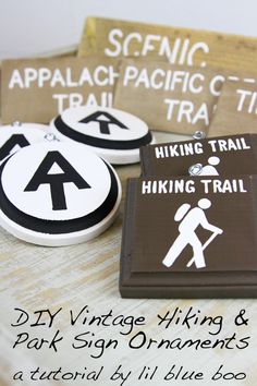 How to make vintage hiking and rustic trail sign ornaments. Create an outdoor themed tree! hiking illustrations, hiking trips usa, la hiking to make vintage hiking and rustic trail sign ornaments. Create an outdoor themed tree! Cabin Christmas, All Things Christmas, Christmas Crafts, Christmas Decorations, Christmas Ornaments, Christmas Centerpieces, Christmas Ideas, Camping Theme, Diy Camping