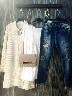 Moda For You, jesień 2015, jeansy, kardigan,  monari, stylizacja na dziś