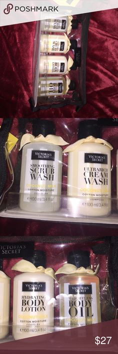 Victoria's Secret Ultimate moisture to go pack Victoria's Secret Ultimate moisture to go pack; coconut milk. 3.4 oz of scrub wash, cream wash, body lotion & body oil. Brand new. no trades Victoria's Secret Makeup