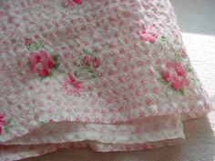 Vtg Cotton Fabric White w Pink Roses Searsucker 37 by 40 inches as is Quilting