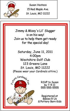 too cute baseball baby shower invitations st louis cardinals with your info