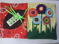 Hefty Quiet Book - sturdy fabric activities to keep toddlers busy  - custom made with 4 extra pages. $140.00, via Etsy.