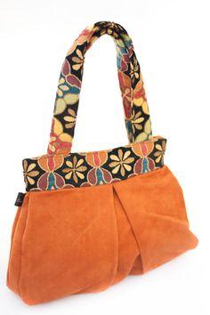Burnt orange faux suede Maria handbag. by LislynDesigns on Etsy
