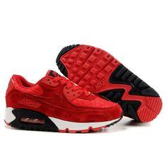 Womens Nike Air Max 90 Shoes Red Black White