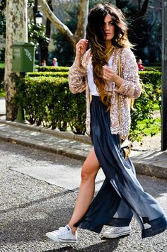 sheer thigh high slit maxi skirt and converse