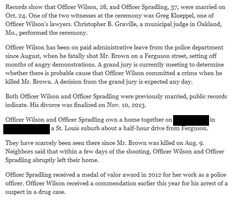 New York Times Publishes Darren Wilson's Address  11/26/14