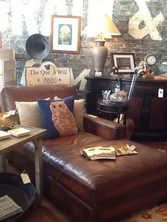 This gorgeous leather chaise lounge is available at The Owl Wine Bar and Home Goods in Elgin, Texas.