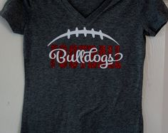 Custom Football T-shirt, Long sleeves, Sweatshirt, Hoodie - personalize for your team name (Bulldogs shown), team colors and player number!