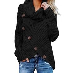 Womens Turtleneck Sweater Plus Size AmyDong Asymmetric Hem Wrap Pullover Coat with Button Shirt Hoodies Outwear Black - Navy XXXX-Large Winter Trends, Sweat Shirt, Plus Size Maxi Dresses, Short Sleeve Dresses, Long Sleeve, Batwing Sleeve, Cardigan Gris, Knit Cardigan, Knit Dress