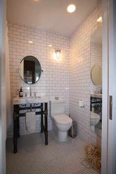 Photo by Francis Dzikowski/ESTO. Photo 7 of 10 in A Transformative Apartment Renovation in Brooklyn. Browse inspirational photos of modern homes. From midcentury modern to prefab housing and renovations, these stylish spaces suit every taste. Ikea Bathroom, Bathroom Floor Tiles, Bathroom Renos, Bathroom Fixtures, Small Bathroom, Bathrooms, Bathroom Ideas, Bathroom Makeovers, White Bathroom