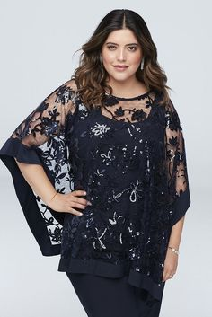 Sequin Lace Plus Size Pantsuit with Sheer Poncho Style Navy, - How To Be Trendy Fall Fashion Outfits, Girl Outfits, Fashion Dresses, Plus Size Gowns, Plus Size Outfits, Wedding Pantsuit, Evening Dresses, Formal Dresses, Special Occasion Dresses