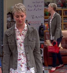 Penny's white floral shirt, green jacket and red bag on The Big Bang Theory.  Outfit Details: http://wornontv.net/43284/ #TheBigBangTheory