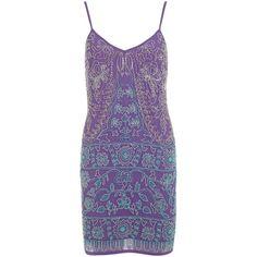 Miss Selfridge Embellished Slip Dress, Purple (585 ZAR) ❤ liked on Polyvore featuring dresses, v neck dress, floor length maxi dress, midi dress, mini dress and sleeveless dress