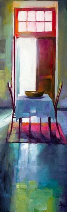 This oil painting is what appears to be a small table in front of an open door in the day, and it also gives great example of color, the intensity of the light streaming through the door way and the large use of light value in the colors even in the shadow of the table expresses feelings of positivity and happiness.