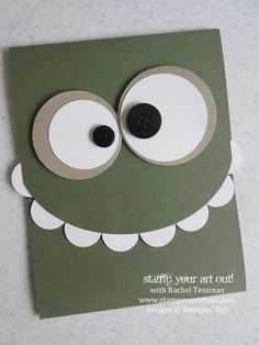 Green with Eyeballs On Top Toothy monster card… - Stampin' Up!® - Stamp Your Art Out! Toothy monster card… - Stampin' Up!® - Stamp Your Art Out! Boy Cards, Kids Cards, Tarjetas Diy, Punch Art Cards, Karten Diy, Kids Birthday Cards, Funny Birthday, Birthday Sayings, Sister Birthday