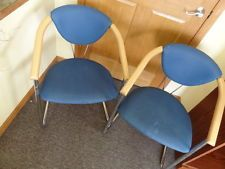 Vintage Mid Century Modern Effezeta Italy Metal Wood Blue Office Chairs Retro