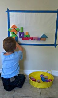 Four Foam Block Building Ideas that involve sensory experiences and new building challenges for kids. Preschool and baby friendly ideas.           foam blocks on a sticky wall/1