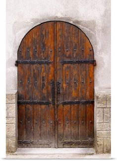Per Karlsson Solid-Faced Canvas Print Wall Art Print entitled Chateau De Nouvelles, Fitou, Languedoc, A Door, France Old Wood Doors, Wood Entry Doors, Wooden Front Doors, Arched Doors, Rustic Doors, Entrance Doors, Wooden Gates, Garage Doors, Big Doors