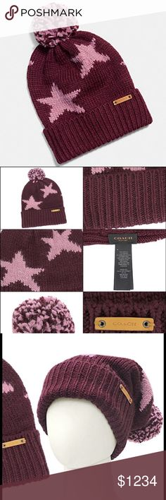 NWT bright berry/orchid Coach beanie NWT berry colores beanie with top Pom Pom.  Authentic Coach like all my Coach items.  Acrylic and viscose fabric blend.  F86023.  Leather Coach sewn on tag. Coach Accessories Hats