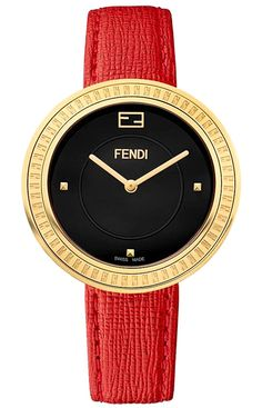 Fendi My Way Yellow Gold Red Leather 36 mm Watch F350431073
