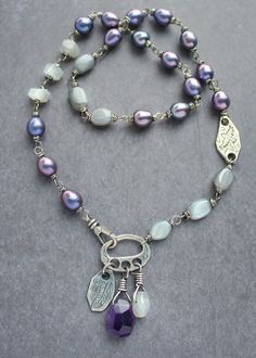 Midnight Flight. Purple bead neclace. Jewelry, wire, metal, silver, grey