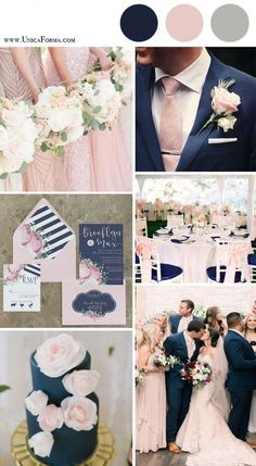 Navy and blush wedding palette. Navy and pink wedding. Navy and blush wedding cake. (How To Get Him To Propose Ideas) Navy Gray Wedding, Maroon Wedding Colors, Wedding Color Schemes, Burgundy Wedding, Dusty Rose Wedding, Wedding Ideas In Blue, Wedding Flowers, Color Palette For Wedding, Wedding Motif Color