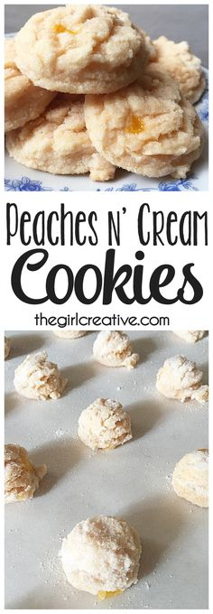 n' Cream Cookies Peaches n' Cream cookies are the perfect treat for your sweet tooth. This cookie recipe is simple and oh so delicious!Peaches n' Cream cookies are the perfect treat for your sweet tooth. This cookie recipe is simple and oh so delicious! Cake Mix Cookie Recipes, Chip Cookie Recipe, Chocolate Cookie Recipes, Chocolate Chip Cookies, Chocolate Chips, Unique Cookie Recipes, Peach Cookies Recipe, Cookie Favors, Köstliche Desserts