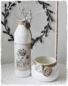 Deko-Objekte - shabby Vasen Set french - ein Designerstück von Villa-Vintage-Chic bei DaWanda